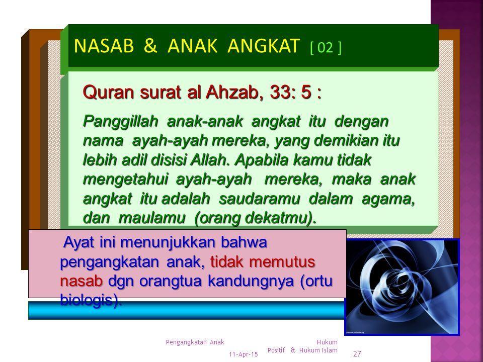 NASAB & ANAK ANGKAT [ 02 ] Quran surat al Ahzab, 33: 5 :